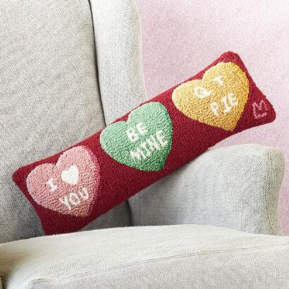 CANDY HEARTS BOLSTER PILLOW