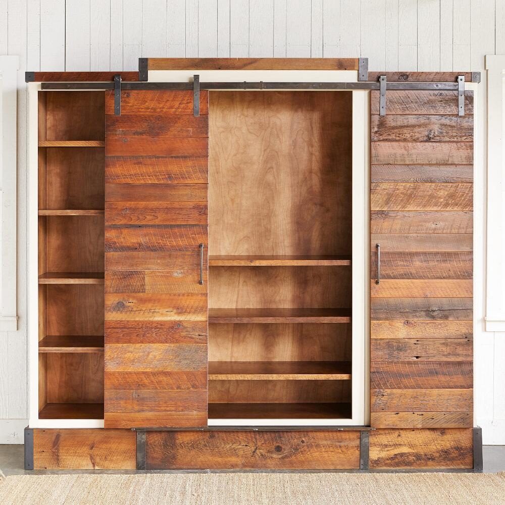 Reclaimed Wood Sliding Door Media Wall Cabinet Robert Redford S Sundance Catalog