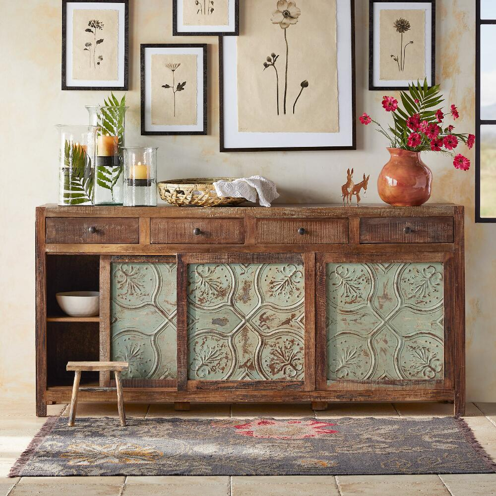 Go green with our new reclaimed teak western decor furniture available - Our Large Tin And Reclaimed Wood Console Makes A Handsome Cornerstone For Your D Cor