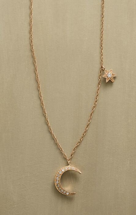 Multi pendant charm necklaces robert redfords sundance catalog a crescent moon and star kissed by diamonds sparkle on this 14kt gold necklace by julie aloadofball Choice Image