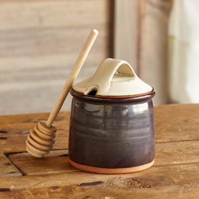 SIENNA STONEWARE HONEY POT