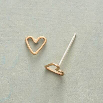 TINY HEARTS, BIG LOVE GOLD EARRINGS