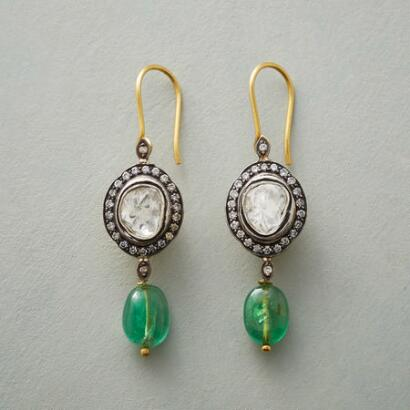 EMERALD GENEVA DIAMOND EARRINGS