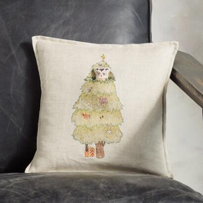 CHRISTMAS TREE OWL POCKET PILLOW