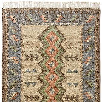 Softened Hues And An Attractive Geometric Pattern Lend Our Blue Ridge Kilim Rug