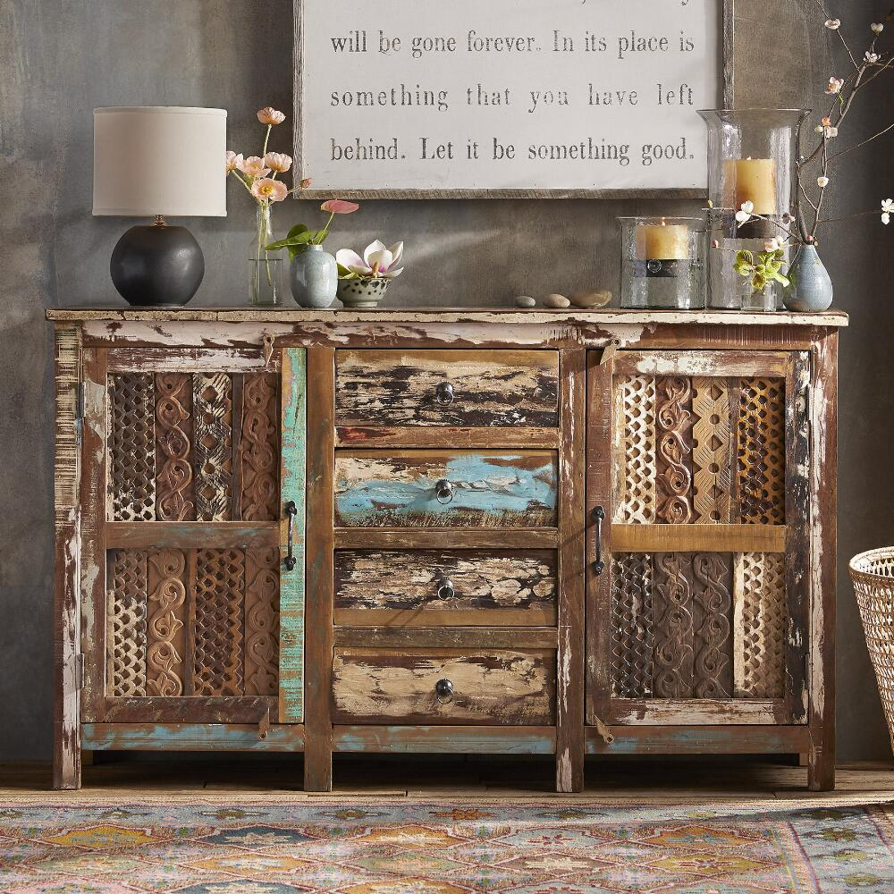 Go green with our new reclaimed teak western decor furniture available - Our Tamara Console With Distinctive Hand Carved Wood Details Adds Rustic