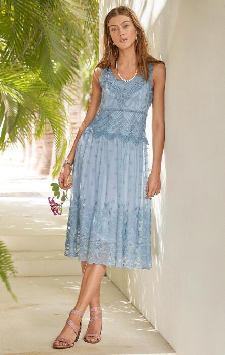 Make a summery fashion statement in our elegantly detailed 'Love Always'  embroidered mesh dress