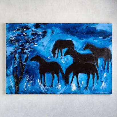 BLACK HORSES PAINTING